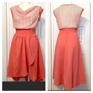 erGuo MintyGOGO Dresses - Pretty coral and ivory striped chiffon hi lo dress